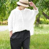 アイリッシュリネンハードマンズワッシャー加工ちび襟リネンドルマンシャツ/Aラインシャツ/オーバーシャツ