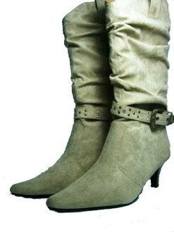 With buckle! kusyukusyu boots < beige]