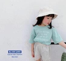 キッズ半袖Tシャツロゴプリントパステルカラー男の子女の子春夏秋韓国子供服トップスふんわりTシャツビックシルエットビックサイズキッズカジュアルかわいい100110120130