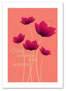 蝶を思わせる様な5本の花。A3サイズ ポスター 【Cinq ピンク】おしゃれ/アート/植物,花