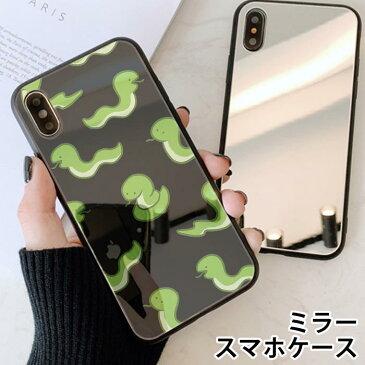 スマホケース ミラー 鏡面 ラウンド ヘビ 蛇 スネーク 爬虫類 iphone12 pro iphone12mini iphone11 iphone11pro iphoneXR iphoneXS iphone8 iPhoneケース TPU ガラスケース オシャレ かわいい 可愛い 背面ガラス 強化ガラス TPU ハードケース