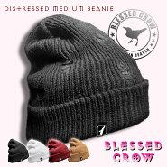 BlessedCrowDistressedMediumビーニーニットキャップメンズレディース帽子ダメージ
