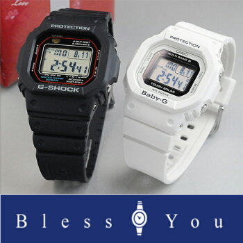 Gショック&ベビーGペアウォッチデジタルbkwhソーラー電波時計GW-M5610-1JF+BGD-5000-7JF38,0