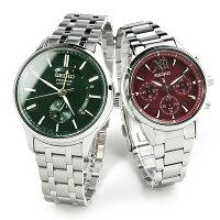 [09NEW]セイコープレザージュとルキアペアウォッチソーラーSARY145-SSVS039110,0グリーン&レッドペア腕時計カップルウォッチブランドギフト