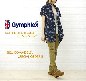 ★★【SEN-10022489】BCB別注*Gymphlex(ジムフレックス) DOT PRINT SHORT SLEEVE B/D SHIRTS TUNIC・J-0998TDP-BB-0321201【楽ギフ_包装】