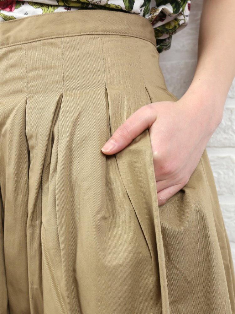 コットン プリーツ タック ロングスカート・GK001-0361701