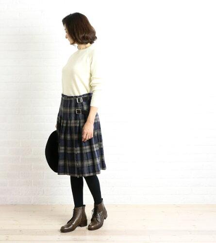 ウール 膝丈 プリーツ キルト ラップスカート・NOD0852...