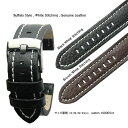 【送料無料】Buffalo Style / 18mm 20mm 22mm 24mm / White Stitching Flat-HEAVY Calf Leather and Alu...