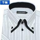 2重襟ボタンダウン グレージャガードストライプ 半袖ワイシャツ 半袖シャツ メンズ 半袖 ワイシャツ ...