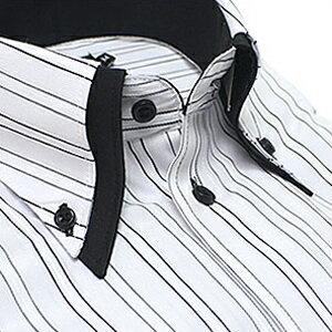 ボタンダウン ワイシャツ 長袖 ビジネス フォーマル メンズ 長袖 ワイシャツ Yシャツ[ワイドカラー][ボタンダウン][クレリック][ドレスシャツ] 送料無料