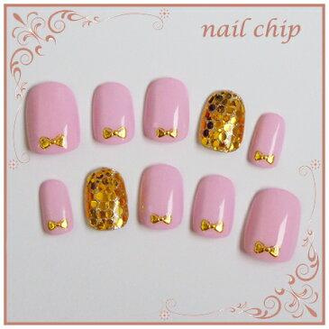一級ネイリストが作る簡単取り付けネイルチップ♪大人の女性のためのデザイン!指先を女性らしく上品に飾ります つけ爪 ショート ネイルシール ブライダル 結婚式 成人式 卒業式 ピンク ゴールドラメ リボン ゴールドホロ