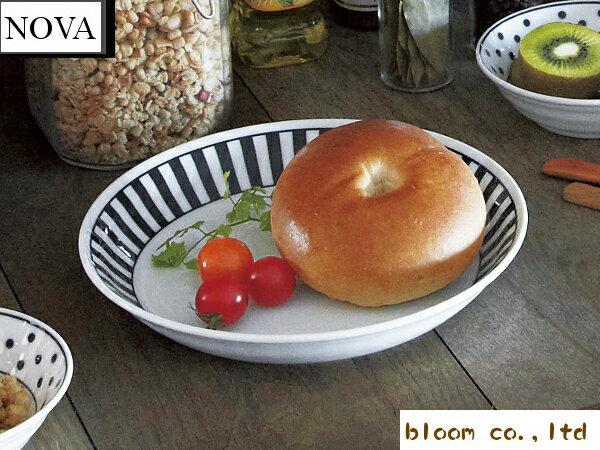 美濃焼/単売/ギフト対象外 ノヴァパスタ&カレー/ボーダー【径22x4cm】【pasta,dish,plate,made in japan】【bloom-plus】
