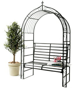 ガーデンアーチとベンチが一緒に♪ラバーズベンチ