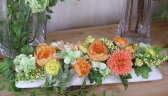ハッピーオレンジ【楽ギフ_包装】・オレンジのお花・黄色のお花ビタミンカラーのお花・造花・アートフラワー・母の日お祝いの花・合格祝い・〔和風の花〕・光触媒・CT触媒・敬老の日結婚祝い・お誕生日