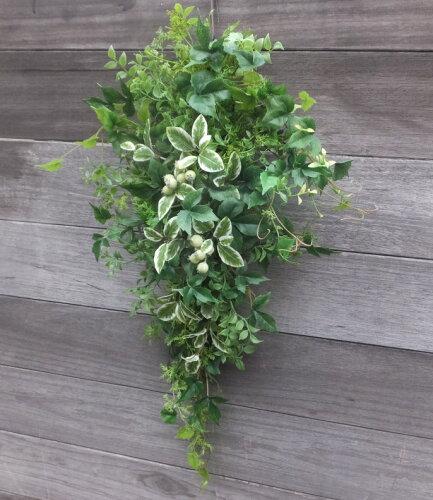 グリーン・ミックススワッググリーンのスワッグ・造花・外に飾るスワッグ・玄関リース・クリスマス...