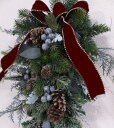 ナチュラルグリーン・スワッグCT触媒・CT触媒のスワッグ・造花のリースグリーのリース・モミのリースクリスマスリース・お祝い・誕生日結婚祝い・ブライダル・ウエルカムボード枯れない花・外玄関のスワッグ