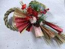 新春 しめ縄飾り 【 梅の舞 】〔ドライフラワー〕〔和花〕〔お正月飾り〕〔お年賀〕〔お正月の花〕〔和風の花〕〔新年の花〕しめ縄飾り・しめ縄・壁飾り造花・アートフラワー・枯れない花