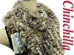 【未使用品】○チンチラ高級毛皮襟巻リアルファーマフラーストール