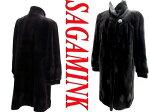 【中古】高級○サガミンクシェアードミンク毛皮ロングコート黒