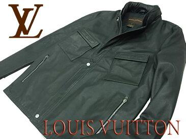 【中古】◇牛革◇ルイヴィトン◇カウレザージャケット ブラック 2重襟デザイン フランス製 LOUIS VUITTON メンズアウター(size:50