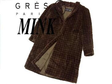 【中古】●GRES グレ 高級本毛皮シェアードミンクコート ハイクラス!ロング丈の大きいサイズ レディース/LL↑