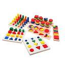 【新入荷】木のおもちゃ 知育玩具セット 形合わせ はめこみ パズル 幾何学認知 棒さし タワー 8点入り