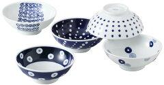 藍丸紋 軽量取り鉢揃え 5PC 西海陶器