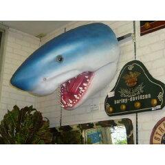 超リアルなサメの頭のオブジェ!代引不可-シャークヘッド・ビッグフィギュア(壁掛けタイプ)