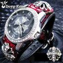 ディープゾーン メンズ 腕時計 レッドパイソン ブレスウォッチw クロス コンンチョ コンチョ deep zone ...