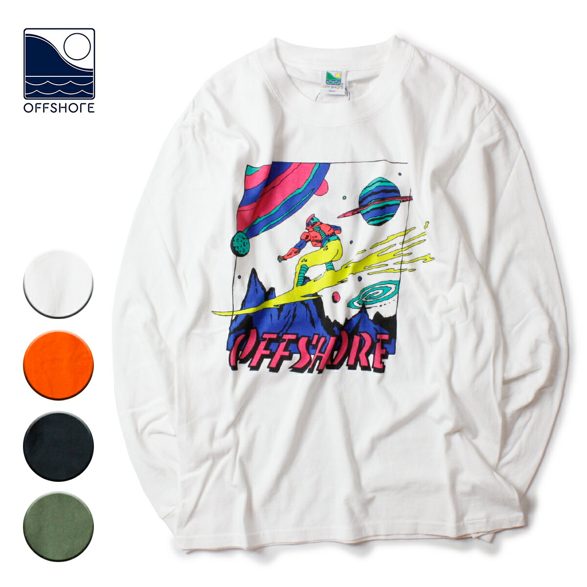 トップス, Tシャツ・カットソー OFFSHORE SPACE SURFER LS TEE S-XL OS19-1CS-006T T 90s