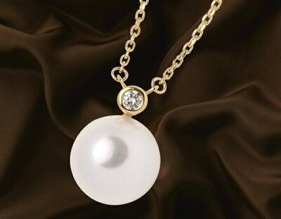 ジュエリー JEWELRY 一粒 アコヤ花珠真珠&ダイヤモンド【0.03ct】 ネックレス K18イエローゴールド DPR-01Y 【レディース】