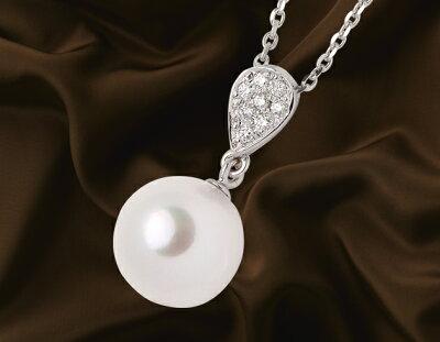 ジュエリー JEWELRY 一粒 アコヤ花珠真珠&ダイヤモンド【0.04ct】 ネックレス K18ホワイトゴールド DPR-04W 【レディース】