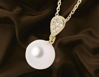 ジュエリー JEWELRY 一粒 アコヤ花珠真珠&ダイヤモンド【0.04ct】 ネックレス K18イエローゴールド DPR-04Y 【レディース】
