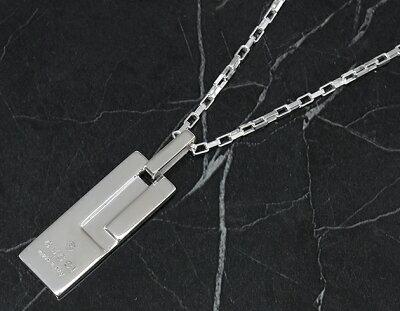 グッチ ネックレス アクセサリー ボーイズ トレードマーク Gロゴプレート シルバー 145170 J8400 8106 GUCCI