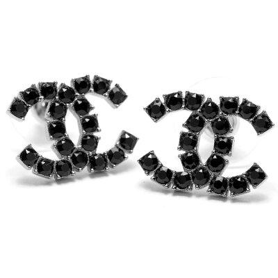 シャネル CHANEL ピアス ココマーク ラインストーン ガンメタル&ブラック A58385 GNBK レディース