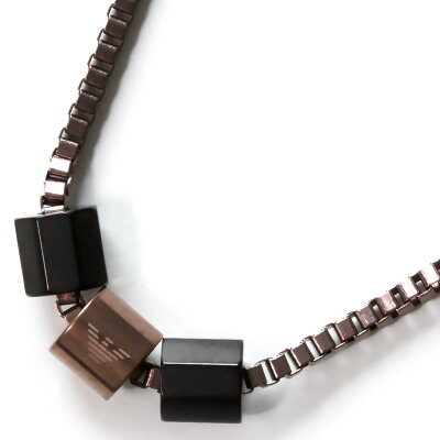 エンポリオアルマーニ EMPORIO ARMANI ネックレス イーグルマーク 3連リング ガンメタル&ブラック EGS2433001 メンズ