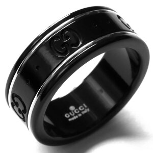 09cc481e3b4e グッチ リング【指輪】 アクセサリー メンズ レディース GGアイコン ブラック&ホワイトゴールド 225985 I19A1