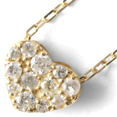 ジュエリー JEWELRY ネックレス ダイヤモンド 12粒 0.15ct K18 ハート クリア&イエローゴールド D10113031 Y レディース