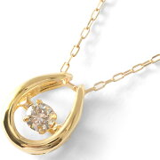 ジュエリー JEWELRY ネックレス ダイヤモンド 一粒 0.08ct K18 ダンシングストーン ホースシュー クリア&イエローゴールド D10119175 Y レディース