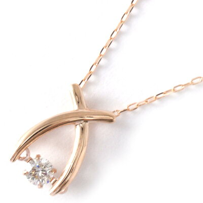 ジュエリー JEWELRY ネックレス ダイヤモンド 一粒 0.08ct K18 ダンシングストーン クロス クリア&ピンクゴールド D10121188 P レディース
