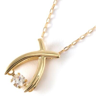 ジュエリー ネックレス アクセサリー レディース ダイヤモンド 一粒 0.08ct K18 ダンシングストーン クロス クリア&イエローゴールド D10121189 Y JEWELRY