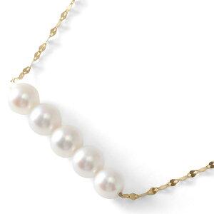 ジュエリー JEWELRY ネックレス アコヤ花珠真珠 5粒 5.0mm K18 パールホワイト&シルバー DKPN6 レディース