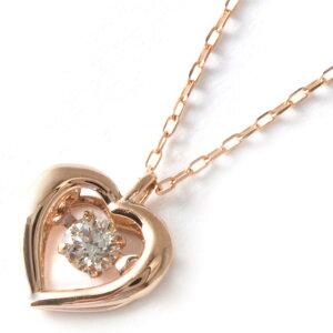 ジュエリー JEWELRY ネックレス ダイヤモンド 一粒 0.08ct K18 ダンシングストーン ハート クリア&ピンクゴールド DTFW073 PG レディース