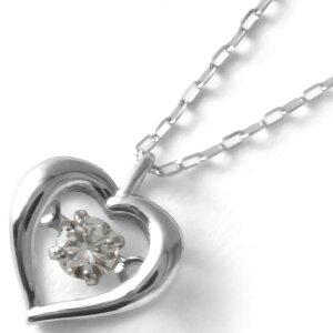 ジュエリー JEWELRY ネックレス ダイヤモンド 一粒 0.08ct K18 ダンシングストーン ハート クリア&ホワイトゴールド DTFW073 WG レディース