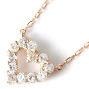ジュエリー JEWELRY ネックレス ダイヤモンド 12粒 0.2ct K18 サークル ハート クリア&ピンクゴールド DTP5166 PG レディース
