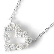 ジュエリー JEWELRY ネックレス ダイヤモンド 12粒 0.2ct K18 サークル ハート クリア&ホワイトゴールド DTP5166 WG レディース