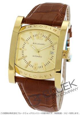 ブルガリ BVLGARI 腕時計 アショーマ YG金無垢 アリゲーターレザー メンズ AA48C13GLD