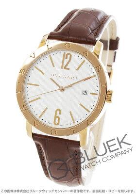 ブルガリ ブルガリブルガリ PG金無垢 アリゲーターレザー 腕時計 メンズ BVLGARI BBP40WGLD