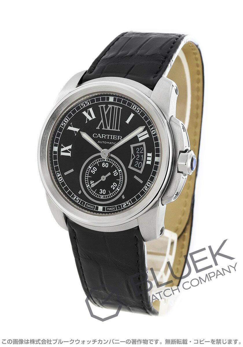カルティエカリブルドゥカルティエアリゲーターレザー腕時計メンズCartierW7100014