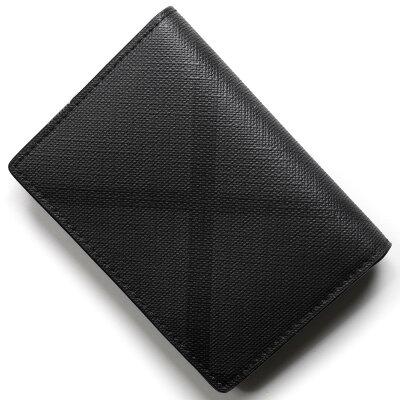 バーバリー カードケース/名刺入れ メンズ ロンドンチェック チャコールグレー&ブラック 4056434 A02600 BURBERRY